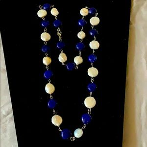 """Cultured coin pearl & Lapis necklace vintage 24"""""""